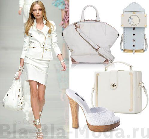 Модные белые аксессуары: модный look Blumarine, сумка Alexander Wang, часы Balenciaga, сабо Dolce & Gabbana, сумка Emporio Armani,