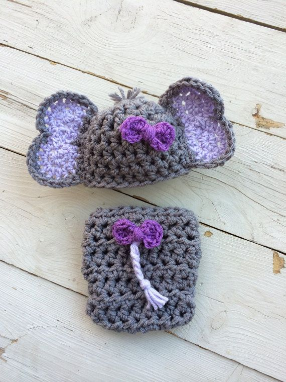Handmade crochet newborn elephant outfit by LittleBirdBands