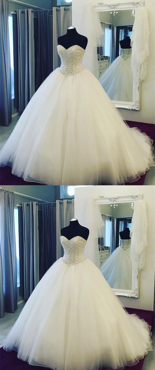 Pearl Beaded Sweetheart Tulle Ball Gowns Wedding Dresses