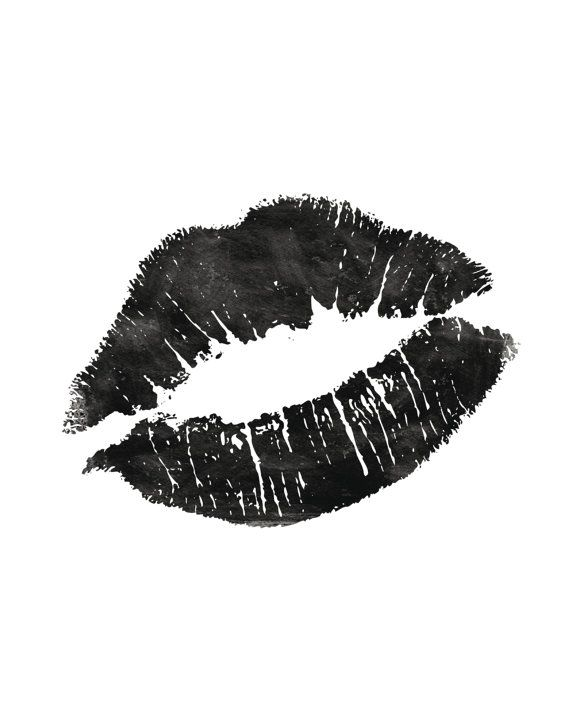 Printable Art Black and White Fashionista Lips by TheMotivatedType