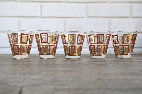 Set of 5 Mid Century Shot Glasses MidCentury Shot Retro Shot