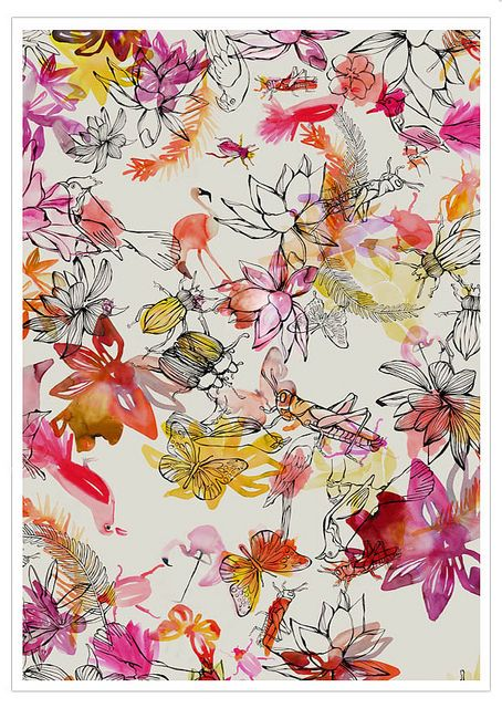 beautifully painted watercolour and line drawing paper