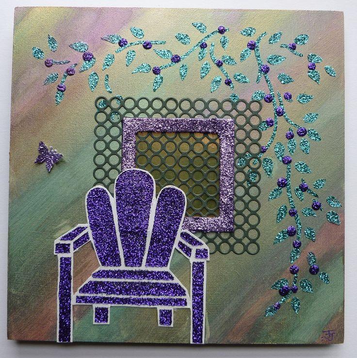 'Garden  chair hanging wall plaque, reverse side.  Imagination Craft's - 'Garden chair' stencil. Magi-bond glue. metal spatula. Detail Sparkle - Jade sea & Lilac purple velvet. Mica powders. Memory Box 'Trellis' die.