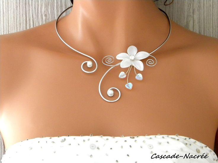 collier mariage Inaya fleur blanc alu argenté perle mariage
