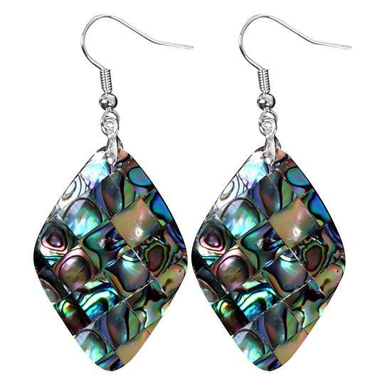 Beginnings Paua Shell Elongated Teardrop Drop Earrings - Multi Col