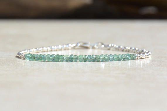 Mothers Day Gift, Zambian Emerald Bracelet, May Birthstone Bracelet, Beaded Bracelet, Natural Gemstone, Silver Bracelet, Emerald Birthstone,