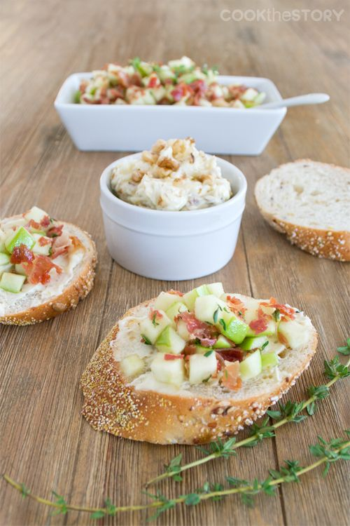 One of my favorite appetizers for a crowd: Apple with Crispy Prosciutto and Walnut Butter