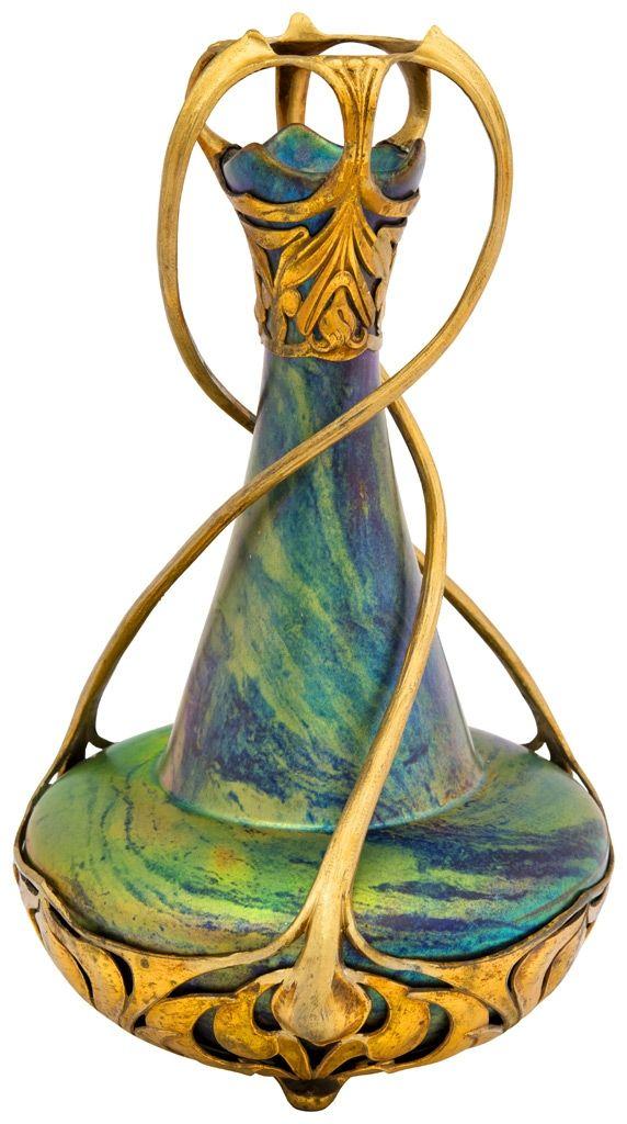 """ZSOLNAI VÁZA, FÉMMONTÍROZÁSSAL, 1900 ZSOLNAY/OSIRIS Magasság: 33 cm Jelzés a fémmontírozáson. """"Osiris"""" 578. A fémmontírozás alatt jelezve: Zsolnay/Osiris 2015/le 1,7m"""