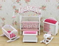 Rosa crianças casa quarto boneca Bjd brinquedos móveis de madeira cama berço do bebê cavalo de balanço 1 12 escala Dollhouse Miniatures 6 PC ajuste em Móveis de brinquedo de Brinquedos & Lazer no AliExpress.com | Alibaba Group
