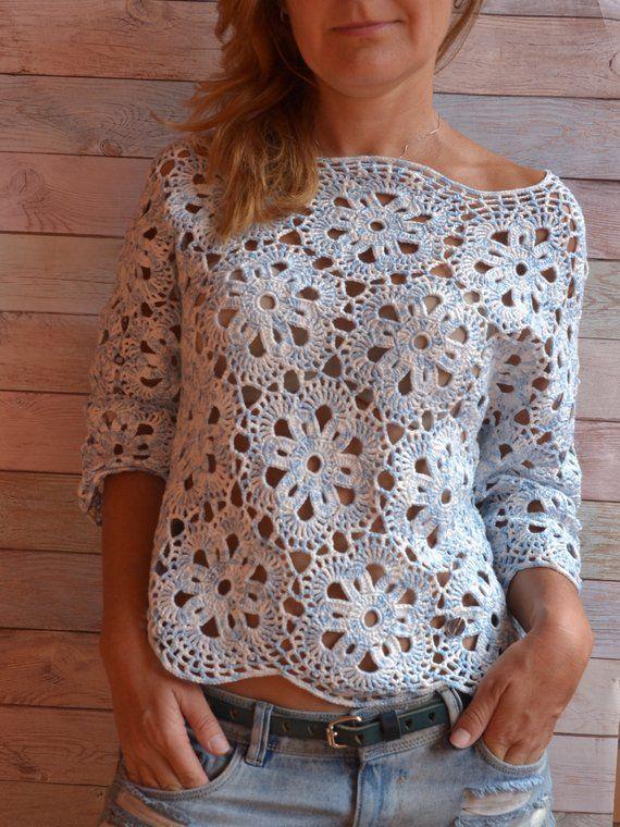 Häkelspitze Boho Bluse Baumwolle Top 3/4 Ärmel Vintage Bluse häkeln Pullover Stil Boho Tunika häkeln Top Beachwear handgefertigt für Frau