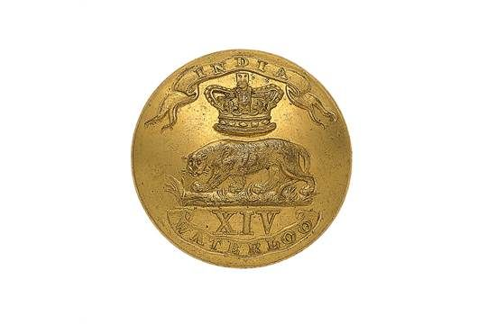14th (Buckinghamshire) Regiment of Foot Officer's gilt closed-back coatee button. A fine scarce e