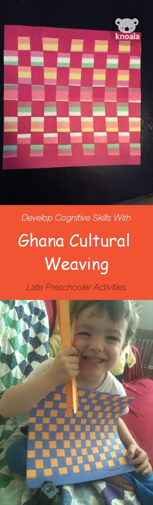 #Knoala Late Preschooler activity 'Ghana Cultural Weaving' helps little ones develop Cognitive and Motor skills. Click for simple instructions  1000s more fun, easy, no-prep activities for kids ages 0-5! #activities #DIY