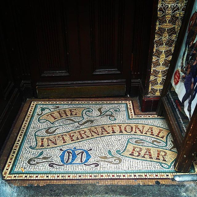 Beautiful tiled entry to The International Bar in #Dublin.  #dublinpub #mosaic #VictorianPub