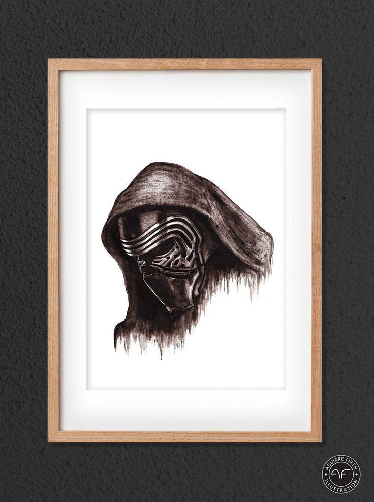 """""""Kylo Ren"""" by Aguirre Firth Illustration   SHOP:  www.aguirrefirth.com  Follow on:  Instagram: www.instagram.com/aguirrefirth Twitter: www.twitter.com/aguirrefirth"""