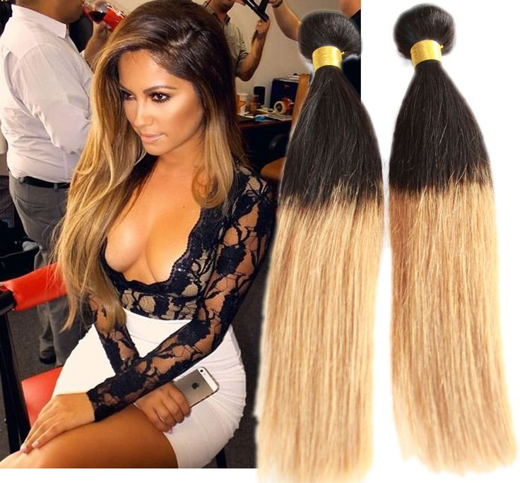 New 100g ombre 2 tone Straight BRAZILIAN Real Human Hair Extension Remy Wefts #WIGISShair #STRAIGHT