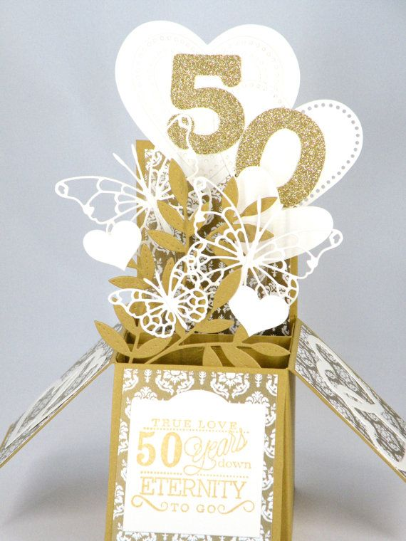 3D Golden Wedding Anniversary Card, Box Card with Hearts and Butterflies