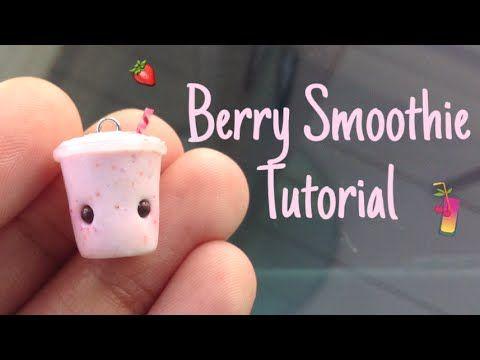 Kawaii Berry Smoothie polymer clay charm tutorial