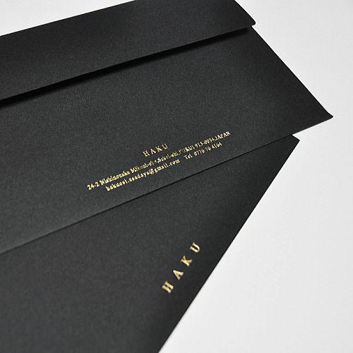 黒封筒への金箔・銀箔箔押し印刷の製作例6