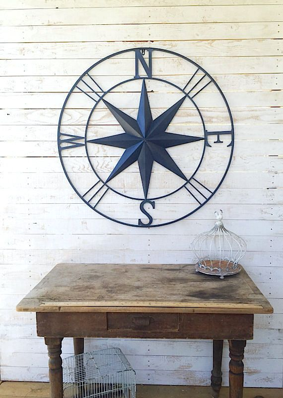 Nautical Wall Art Metal Wall Compass Metal Wall by CamillaCotton