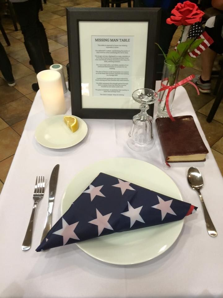Missing Man Table this is what Chic-fil-a resurant did to honor our vets.  it's so touching!