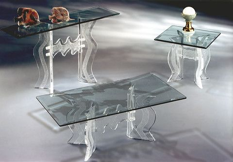"Monaco Coffee Table, End Table & Console     Coffee Table:               Dimensions:  24""x 48"" Glass Top  End Table:               Dimensions:  24""x 24"" Glass Top  Console:              Dimensions: 16""x 54"" Glass Top"