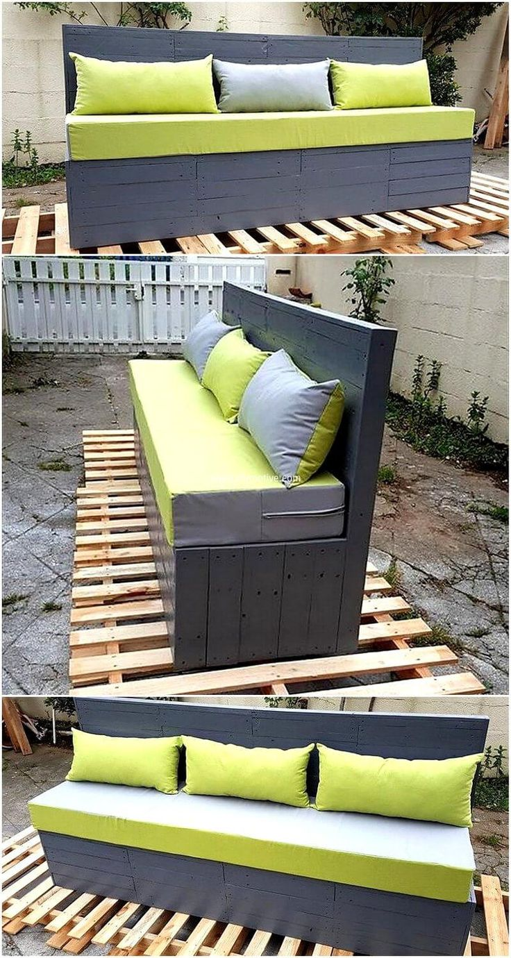 Frame daybeds by wood pallets and cover them accordingly. Wood pallet couch are low priced and are at your approach economically. Style out this pallet sofa with the help of trendy cushions. Furnish your sitting room with in your approach. Give wood pallets a different color to follow your favorite scheme.