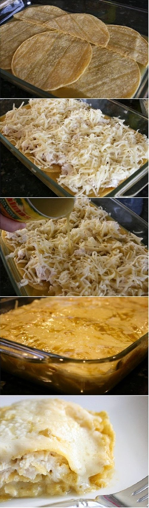 Quick and Easy Green Chile Chicken Enchilada Casserole: