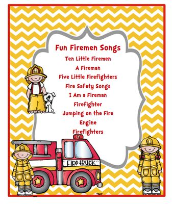 Fun Fireman Song  from Preschool Printables on TeachersNotebook.com -  (7 pages)  - Fun Firemen Songs Ten Little Firemen A Fireman Five Little Firefighters Fire Safety Songs I Am a Fireman Firefighter Jumping on the Fire Engine Firefighters