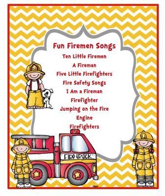 Fun Fireman Song  from Preschool Printables on TeachersNotebook.com (7 pages)  - Fun Firemen Songs Ten Little Firemen A Fireman Five Little Firefighters Fire Safety Songs I Am a Fireman Firefighter Jumping on the Fire Engine Firefighters