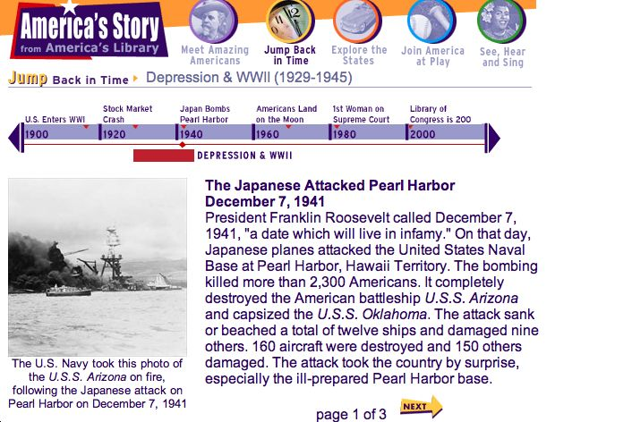 Here shows a summary of Pearl Harbor and a timeline of all the events that followed. I really like this website because it is on a timeline and it includes pictures and dates of everything that occurred. The first page consists of a brief summary of Pearl Harbor, the second discusses the Naval Dispatch from the Commander in Chief Pacific, and the last page explains how the US joined the war and who were the allies of US and Japan.