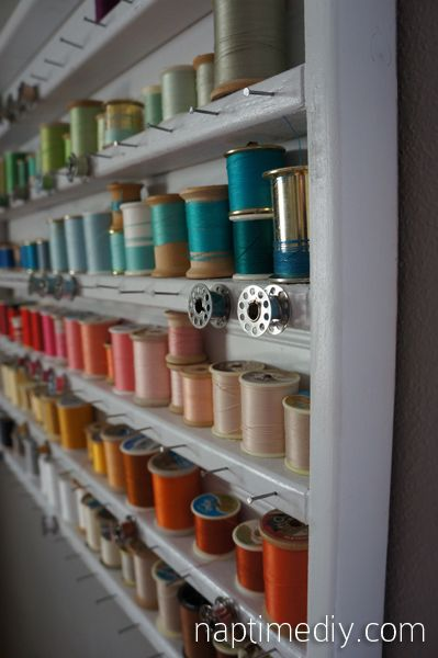 Today's roundup is all about THREAD! Who knew that there are so many fun and creative ways to store and display your thread!  First up…You can see my thread organizer in my craft room tour  I found mine at thrift shop..but THIS TUTORIAL is the basic idea of it!  peg board thread …