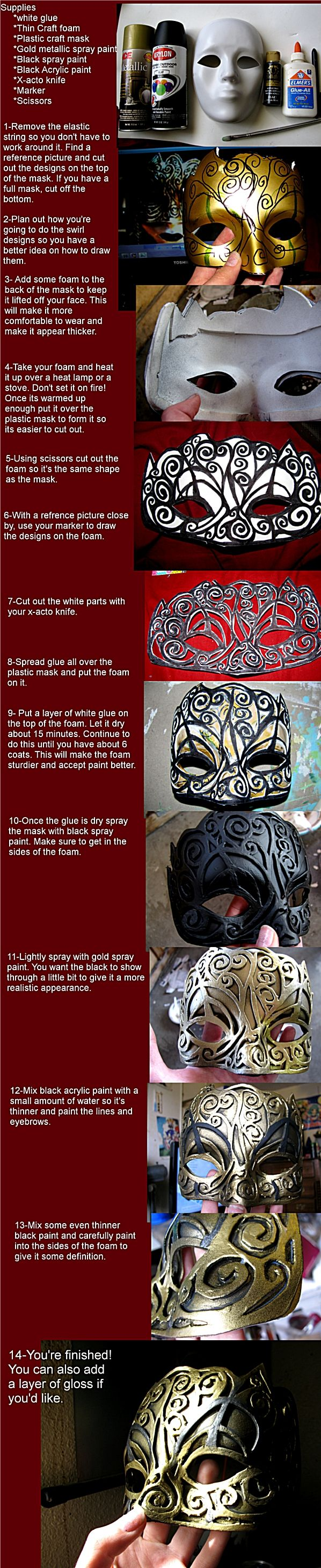 Tutorial....this is a GREAT tutorial...the extra layers of glue is totally the key, but the inside layer of foam to keep it off your face is also fantastic!! I can't wait to try this!