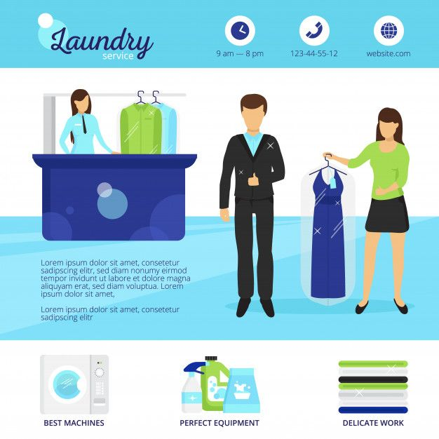 Download Laundry Service With Dry Cleaning And Washing Symbols For