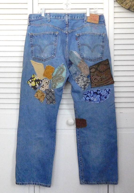 Vintage Levi Jeans Patched Upcycled Clothes High by LandofBridget