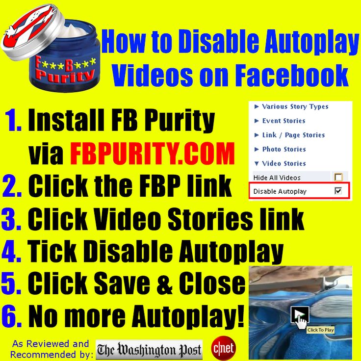 Disable Autoplay Videos on Facebook with F.B. Purity