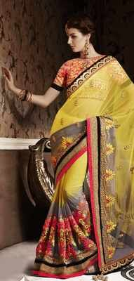 Incredible Heavy Embroidered Wedding Wear See-Through Net Saree Sarees on Shimply.com