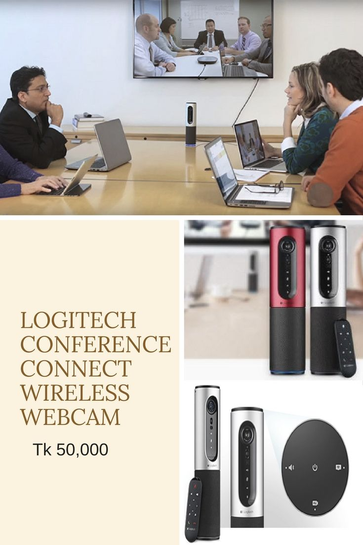 Logitech Conference Connect Wireless Webcam (960-001038). Video Resolution (Pixel) - 1920 x 1080, Interface - USB, Microphone - Two omni-directional microphones supporting 3.6 m diameter range. #ryans #ryanscomputers #webcam