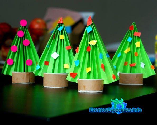 Hagamos árboles de navidad con papel y rollos de papel higiénico   Todo para Eventos especiales