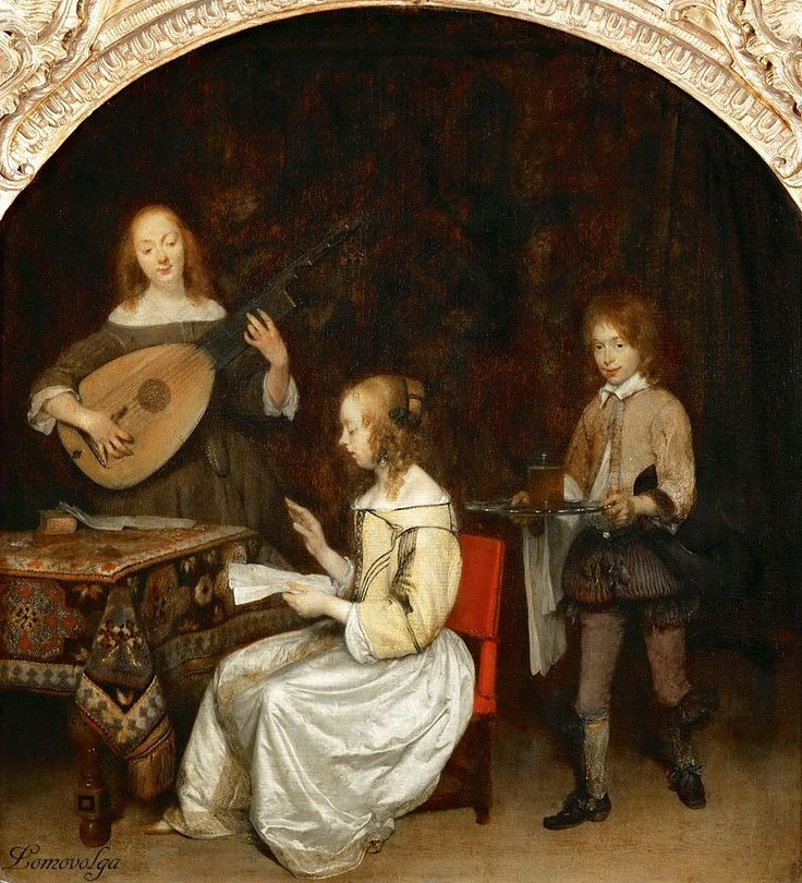Герард Терборх (Gerard Terborch, 1617-1681, Dutch artist). Дуэт - певица и лютнистка. 1657. Лувр