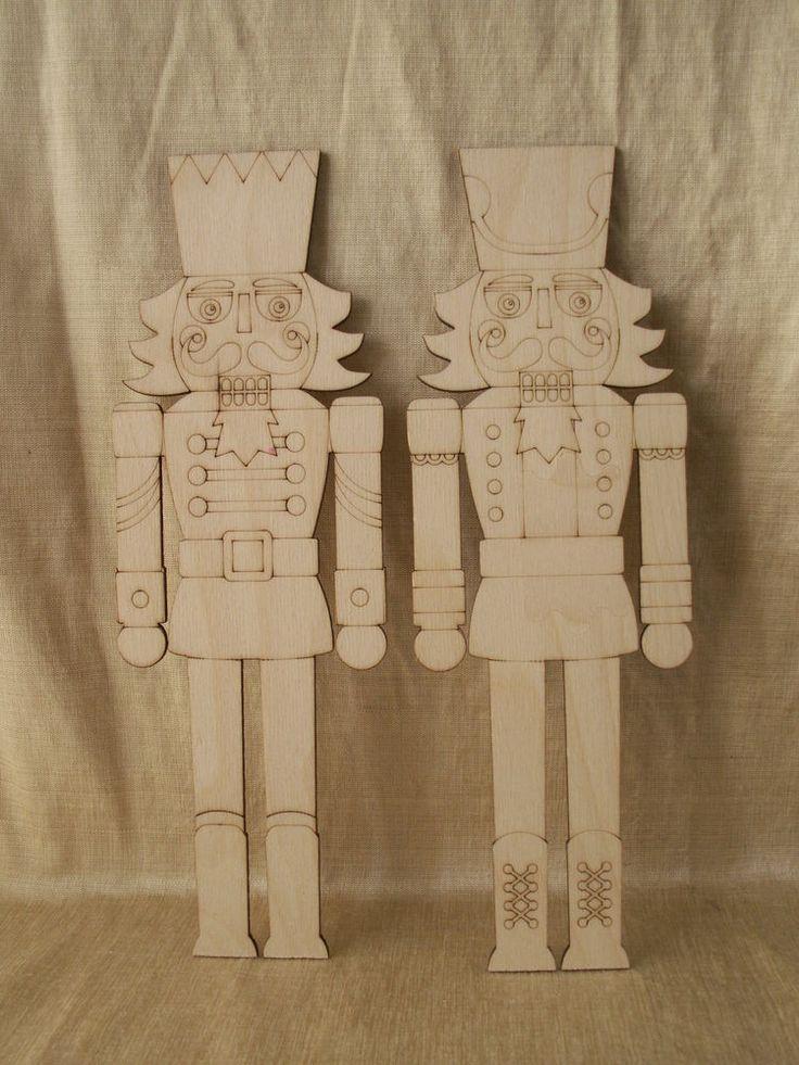 Nutcracker , 2 Piece Set, Laser Cut Outs,Unfinished Wood,Christmas Decorations