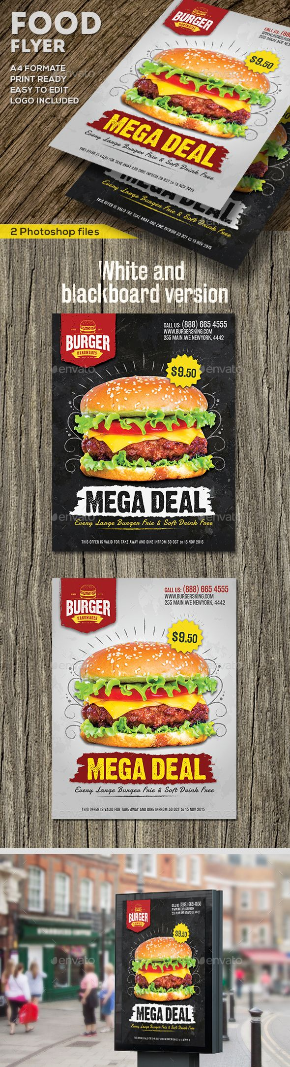 Food Promotional Flyer — Photoshop PSD #burger • Download ➝ https://graphicriver.net/item/food-promotional-flyer/19259585?ref=pxcr