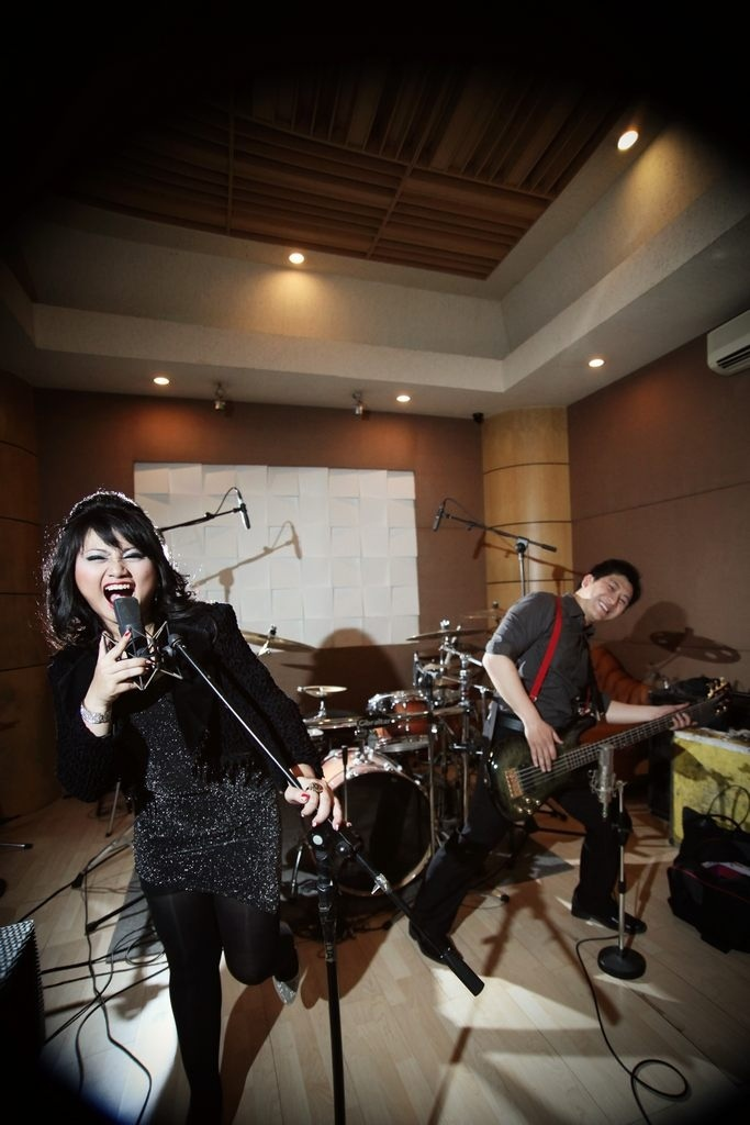 Music studio engagement session