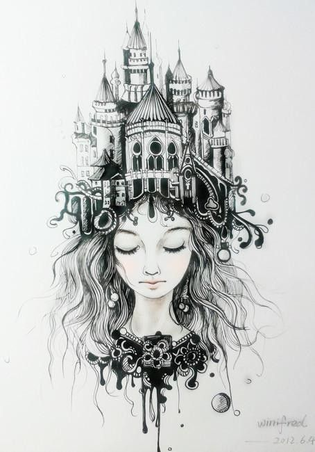 """Castle hair tattoo drawing  Wow as soon as I saw this I thought """"castle of the imagination"""""""