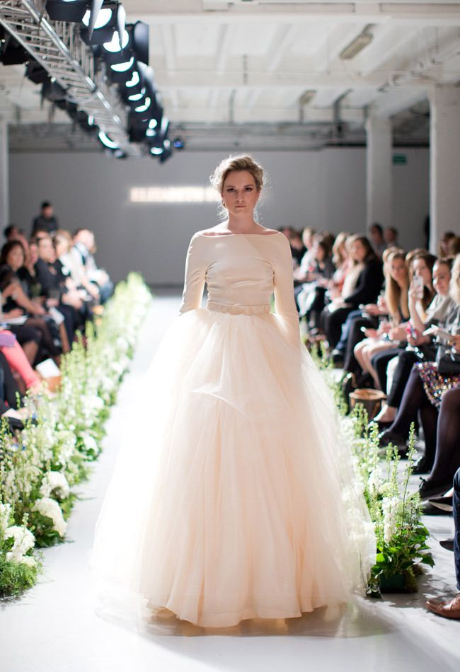 Love this blush off the shoulder wedding dress. The frothy tulle skirt is so cute!  Elizabeth Stuart Fall 2014 | The Knot Blog
