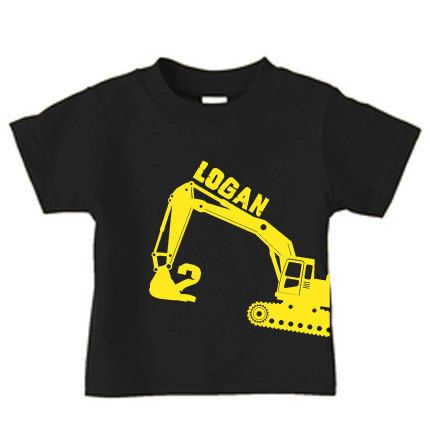 Personalized boy digger t shirt construction by PricelessKids