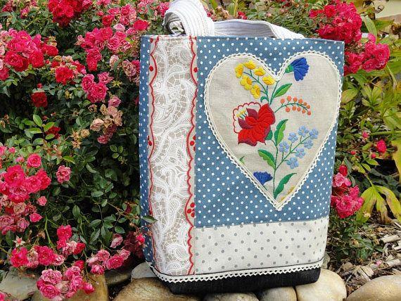Upcycled linen tote bag Kalocsa embroidered bag Upcycled
