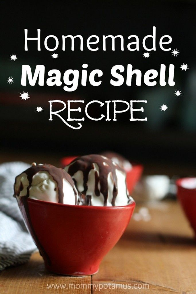 Make homemade magic shell with just three ingredients: coconut oil, cocoa/cacao, and honey/maple syrup.