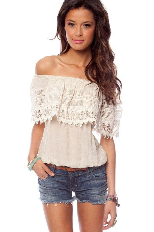 Denim short with half white off shoulder top fashion ...