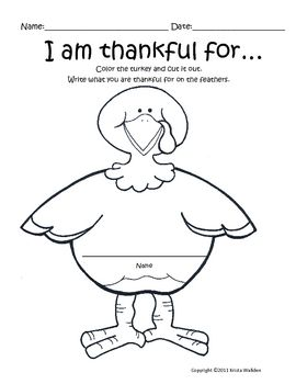 Thanksgiving Freebie! I Am Thankful Writing
