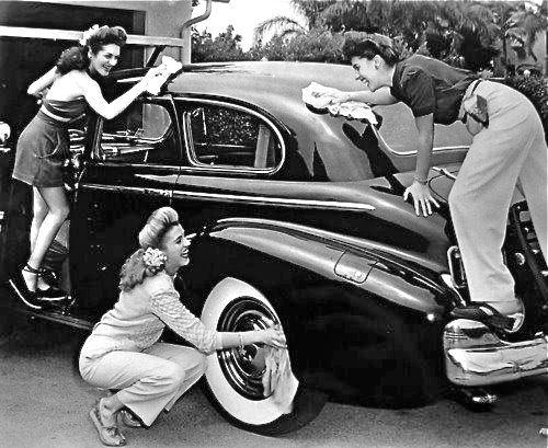 Washing the car, 1940s.